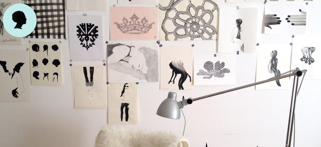 Lo studio di Liana Zanfrisco, la sua sfida per il 2016 è disegnare ogni giorno.