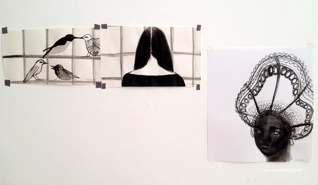 Arte del riordine, due disegni di una finestra e uno di una donna dal viso scuro.
