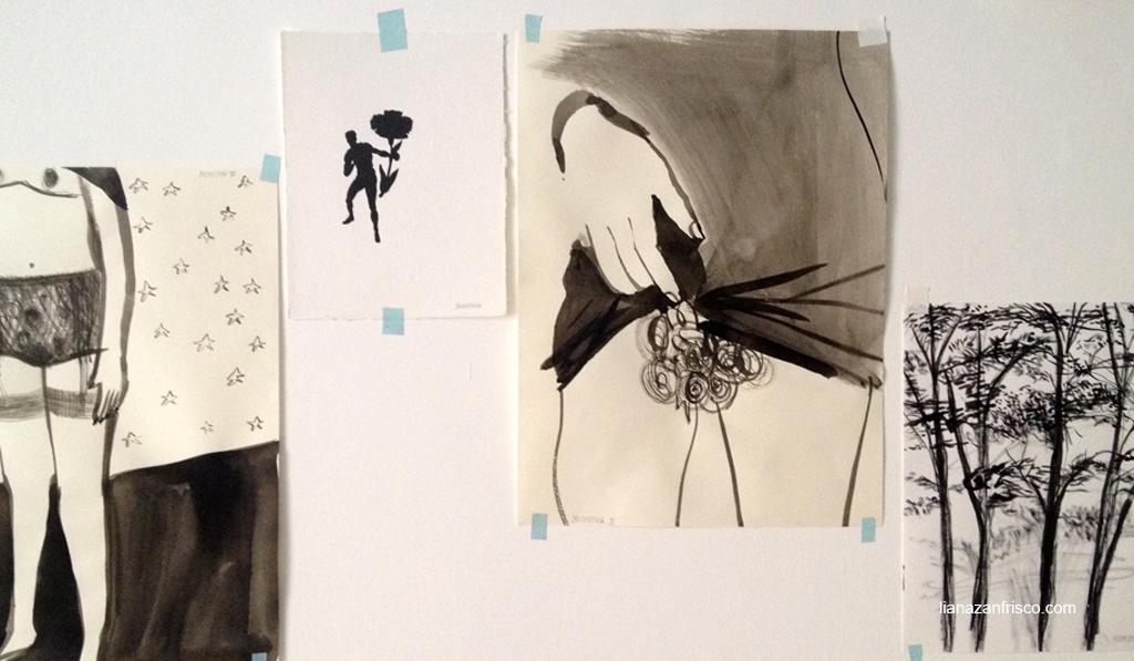 Arte del riordino, due disegni di donne, uno di un pugile e uno di alberi.
