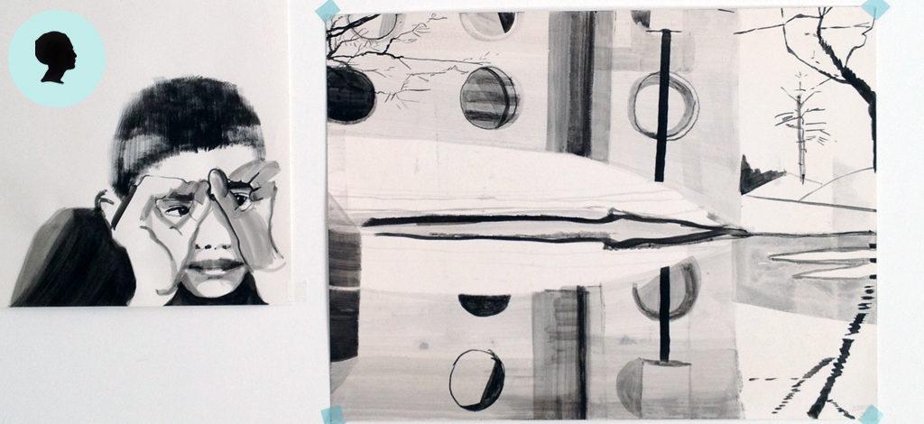 Serie dei disegni bianco nero. Un bambino osserva una veduta.