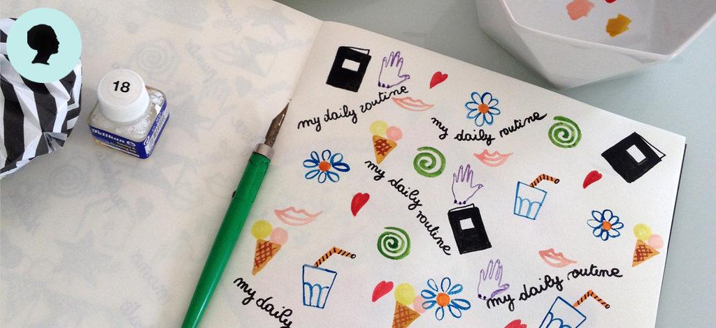 Una pagina del mio quaderno con i simboli della mia routine