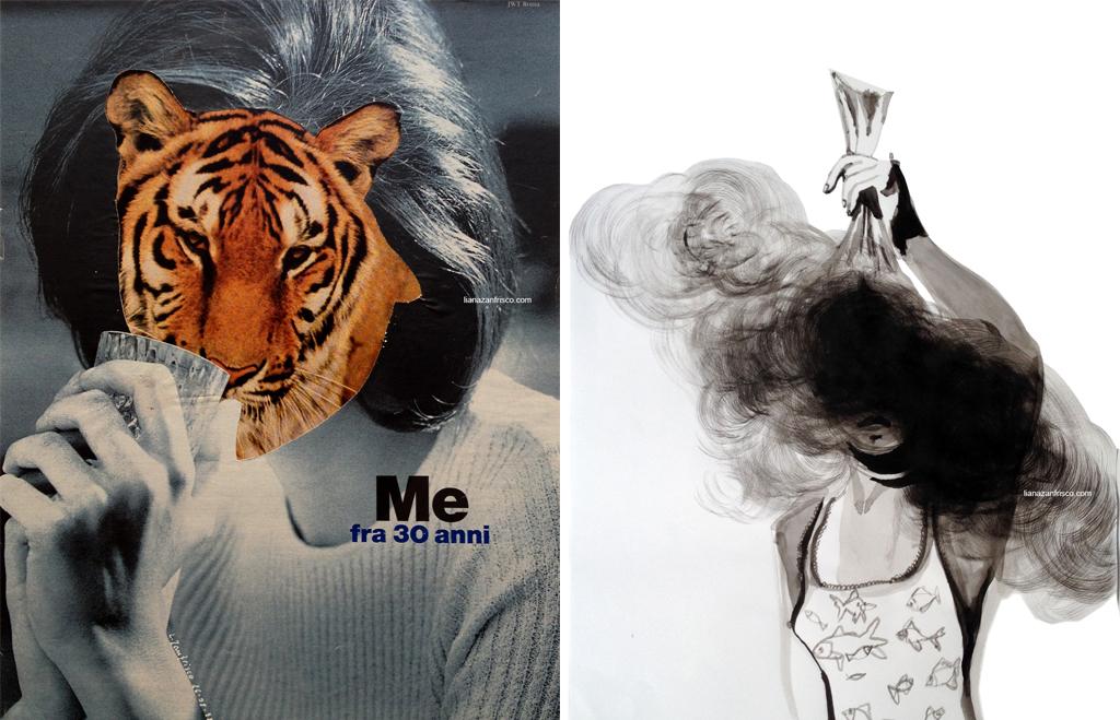 fallire: una donna tigre e una donna che mostra una busta rotta